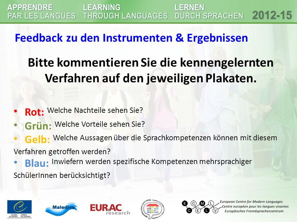 Feedback zu den Instrumenten & Ergebnissen Bitte kommentieren Sie die kennengelernten Verfahren auf den jeweiligen Plakaten.
