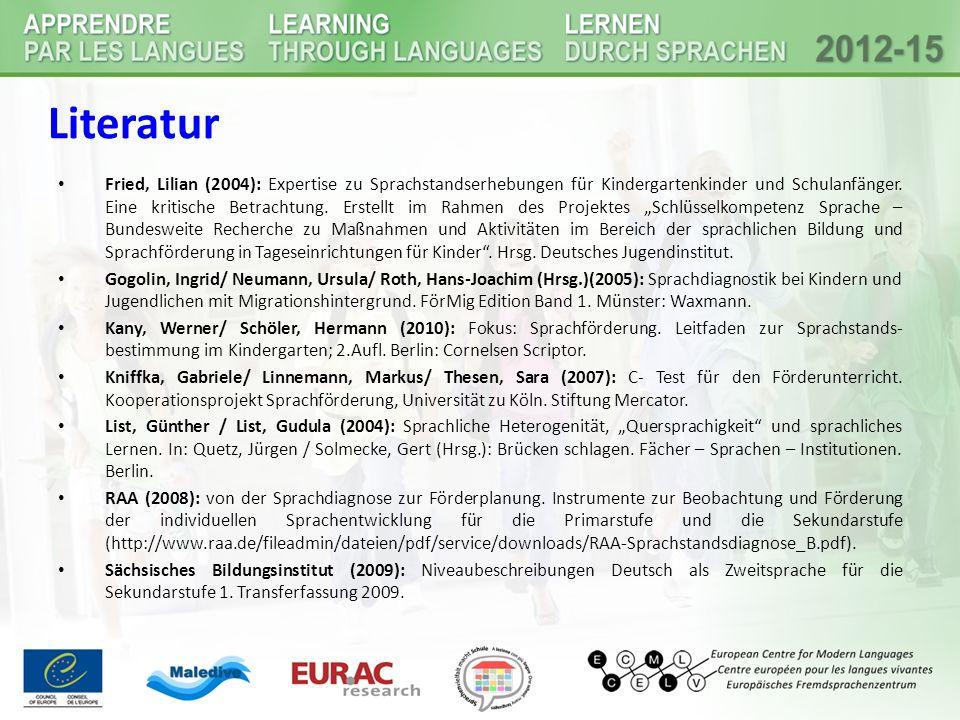 Fried, Lilian (2004): Expertise zu Sprachstandserhebungen für Kindergartenkinder und Schulanfänger.