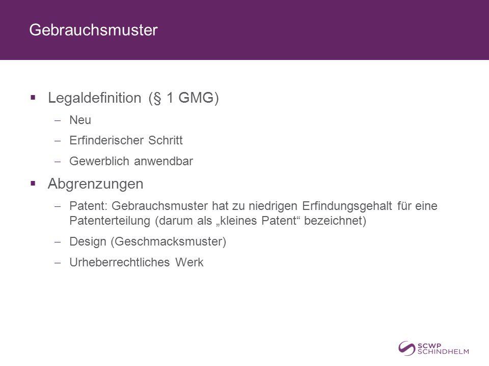 Gebrauchsmuster  Legaldefinition (§ 1 GMG)  Neu  Erfinderischer Schritt  Gewerblich anwendbar  Abgrenzungen  Patent: Gebrauchsmuster hat zu nied