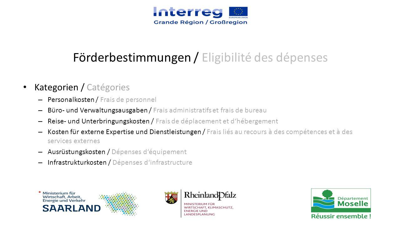 Kategorien / Catégories – Personalkosten / Frais de personnel – Büro- und Verwaltungsausgaben / Frais administratifs et frais de bureau – Reise- und U