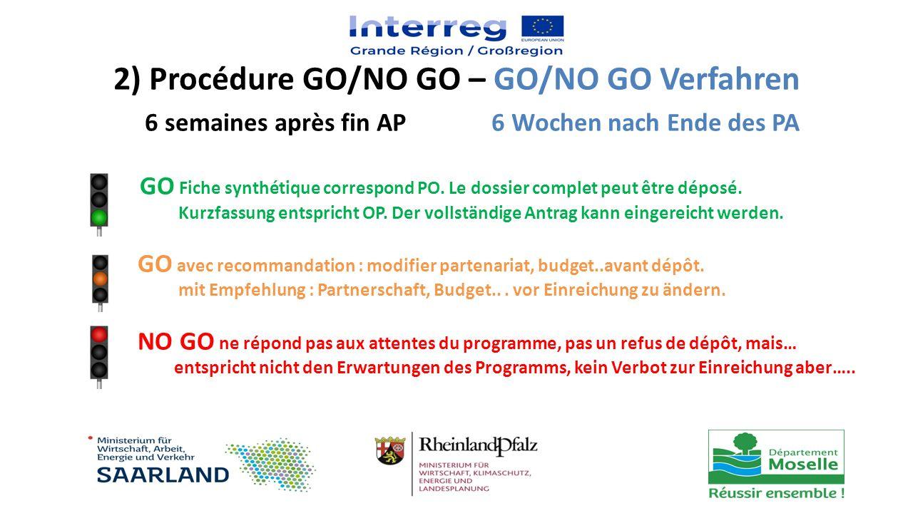 GO Fiche synthétique correspond PO. Le dossier complet peut être déposé. Kurzfassung entspricht OP. Der vollständige Antrag kann eingereicht werden. G