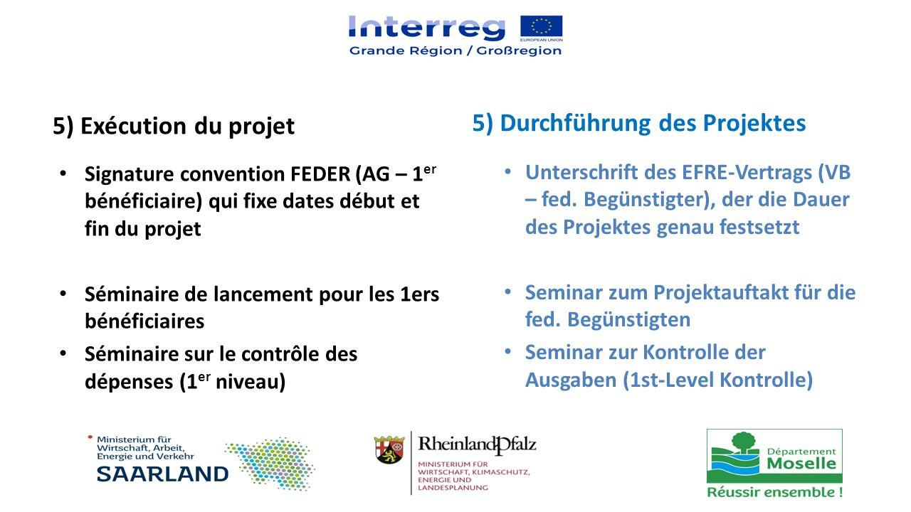 5) Exécution du projet Signature convention FEDER (AG – 1 er bénéficiaire) qui fixe dates début et fin du projet Séminaire de lancement pour les 1ers