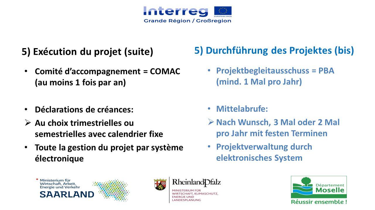 5) Exécution du projet (suite) Comité d'accompagnement = COMAC (au moins 1 fois par an) Déclarations de créances:  Au choix trimestrielles ou semestr