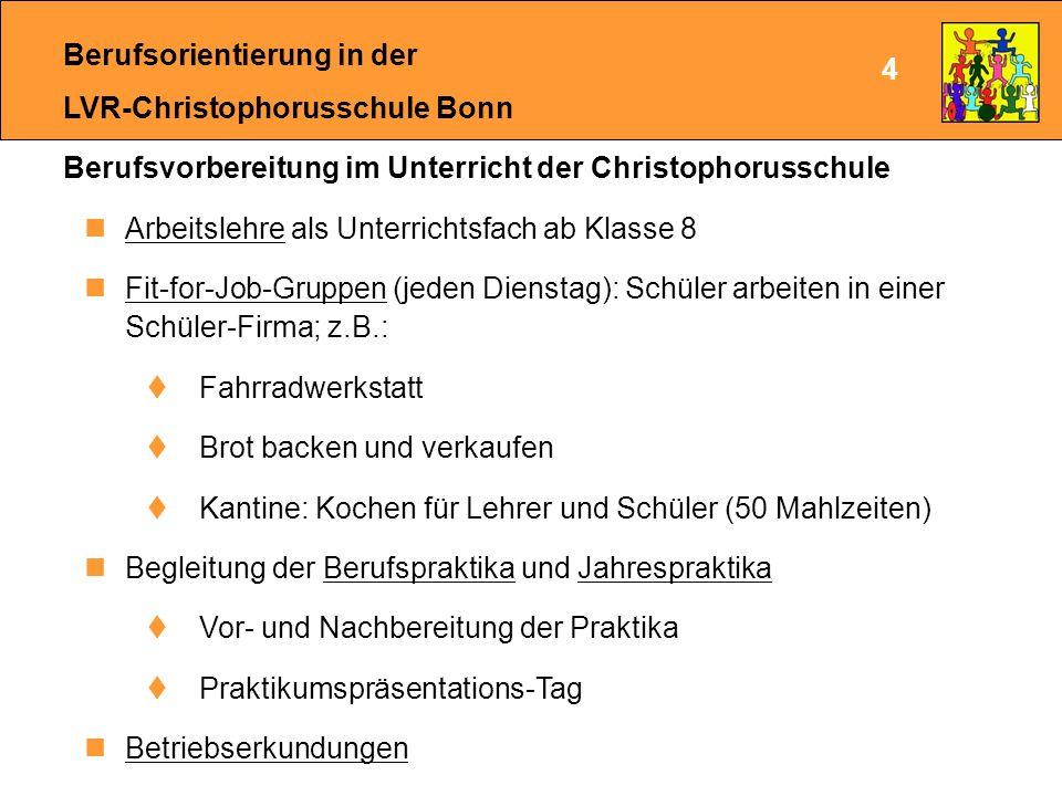 Berufsorientierung in der LVR-Christophorusschule Bonn In der 8.
