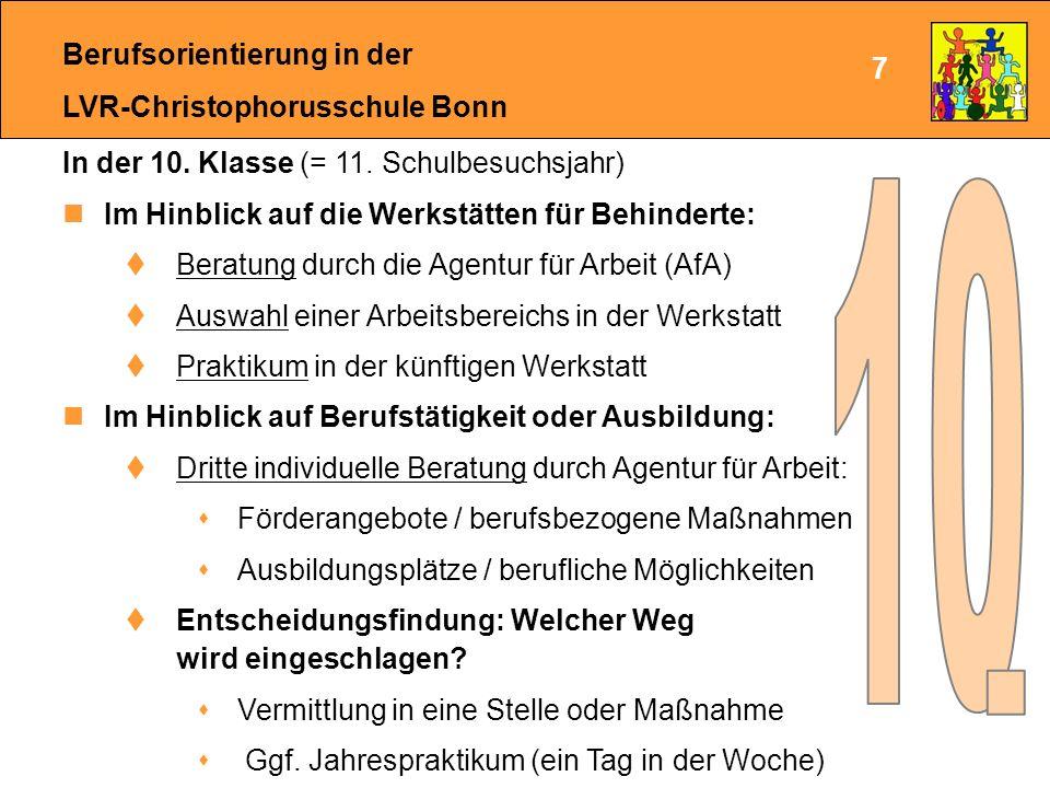 Berufsorientierung in der LVR-Christophorusschule Bonn Bei Unklarheit über den Weg in das Arbeitsleben: Begleitung der Berufsorientierung durch den Integrationsfachdienst  Regelmäßige individuelle Beratung  Durchführung des STAR-Projektes für einzelne Schüler (z.B.