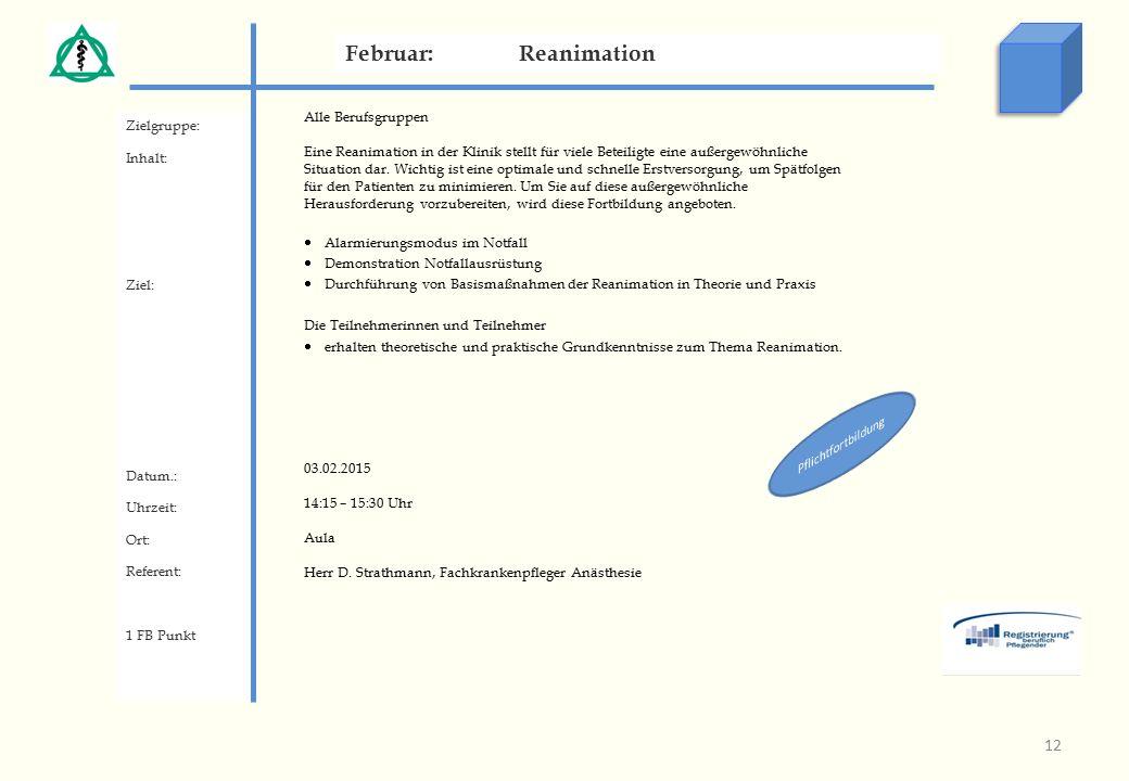 Zielgruppe: Inhalt: Ziel: Datum.: Uhrzeit: Ort: Referent: 1 FB Punkt Februar:Reanimation 12 Alle Berufsgruppen Eine Reanimation in der Klinik stellt für viele Beteiligte eine außergewöhnliche Situation dar.