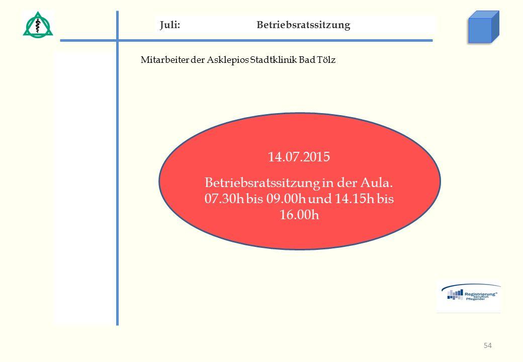 Mitarbeiter der Asklepios Stadtklinik Bad Tölz Juli:Betriebsratssitzung 14.07.2015 Betriebsratssitzung in der Aula.
