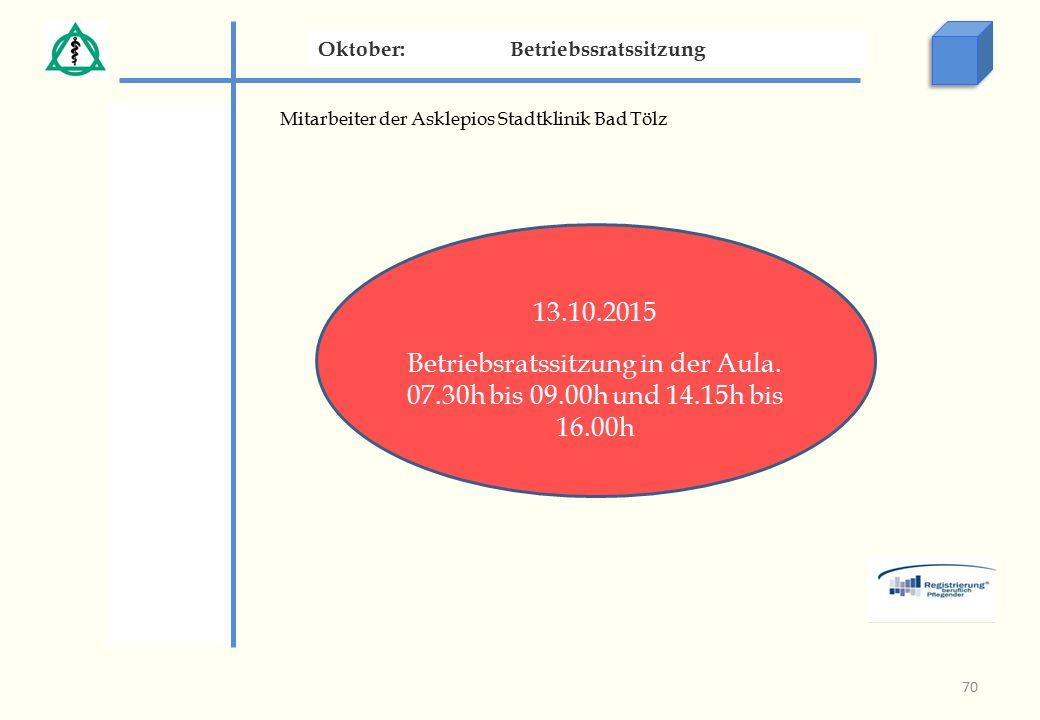 Mitarbeiter der Asklepios Stadtklinik Bad Tölz Oktober:Betriebssratssitzung 13.10.2015 Betriebsratssitzung in der Aula.