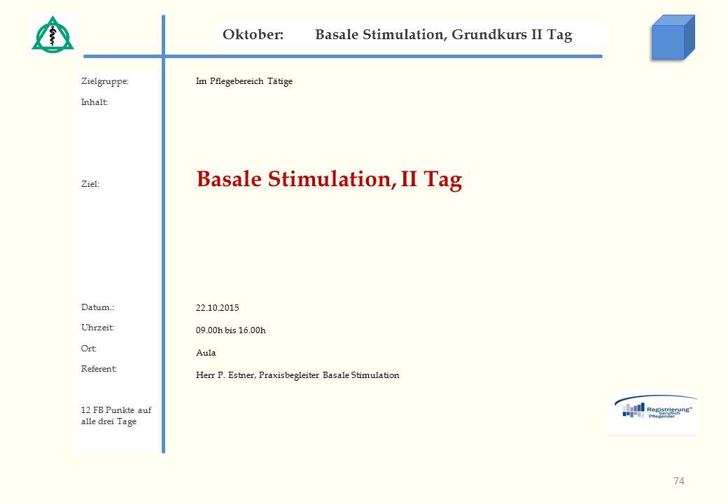 Im Pflegebereich Tätige Basale Stimulation, II Tag 22.10.2015 09.00h bis 16.00h Aula Herr P.