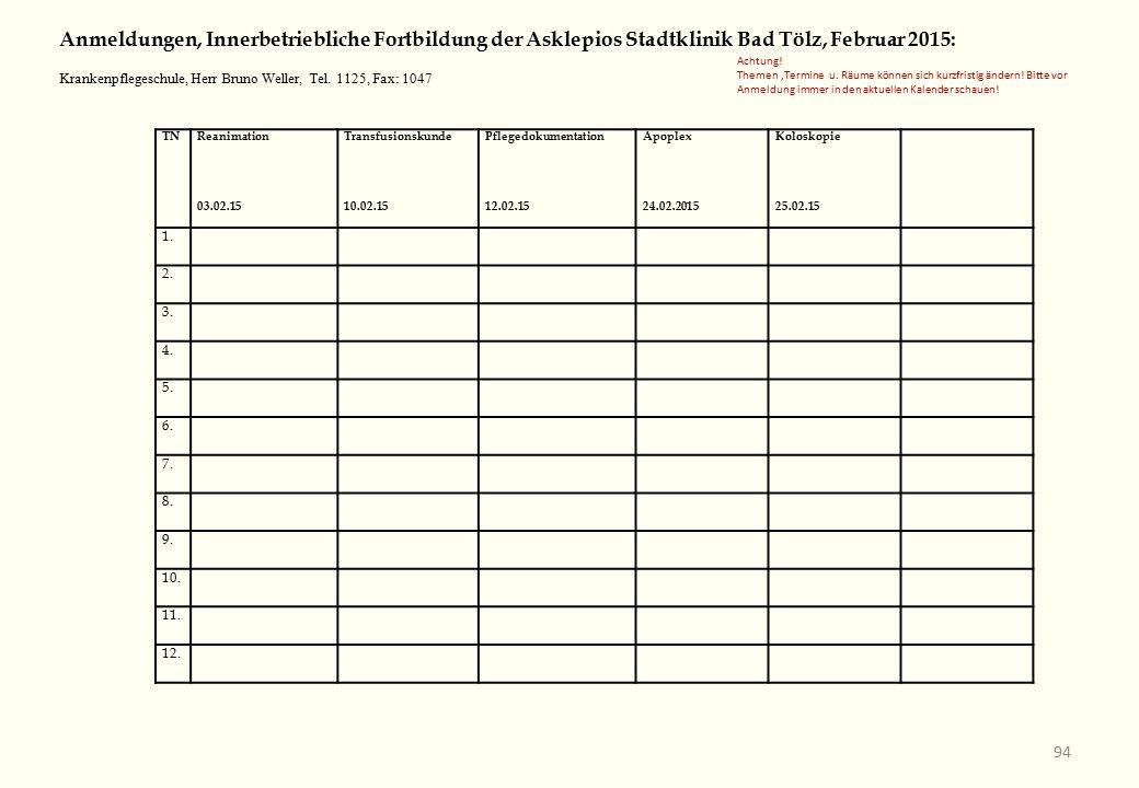 TNReanimation 03.02.15 Transfusionskunde 10.02.15 Pflegedokumentation 12.02.15 Apoplex 24.02.2015 Koloskopie 25.02.15 1.