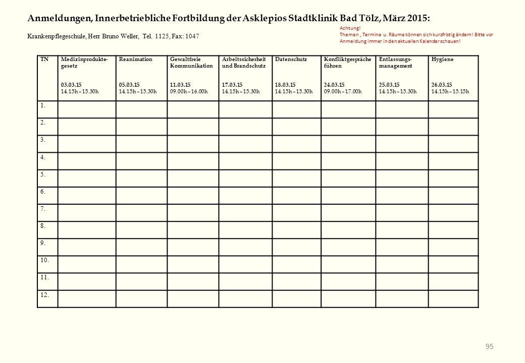 TNMedizinprodukte- gesetz 03.03.15 14.15h – 15.30h Reanimation 05.03.15 14.15h – 15.30h Gewaltfreie Kommunikation 11.03.15 09.00h – 16.00h Arbeitssicherheit und Brandschutz 17.03.15 14.15h – 15.30h Datenschutz 18.03.15 14.15h – 15.30h Konfliktgespräche führen 24.03.15 09.00h – 17.00h Entlassungs- management 25.03.15 14.15h – 15.30h Hygiene 26.03.15 14.15h – 15.15h 1.