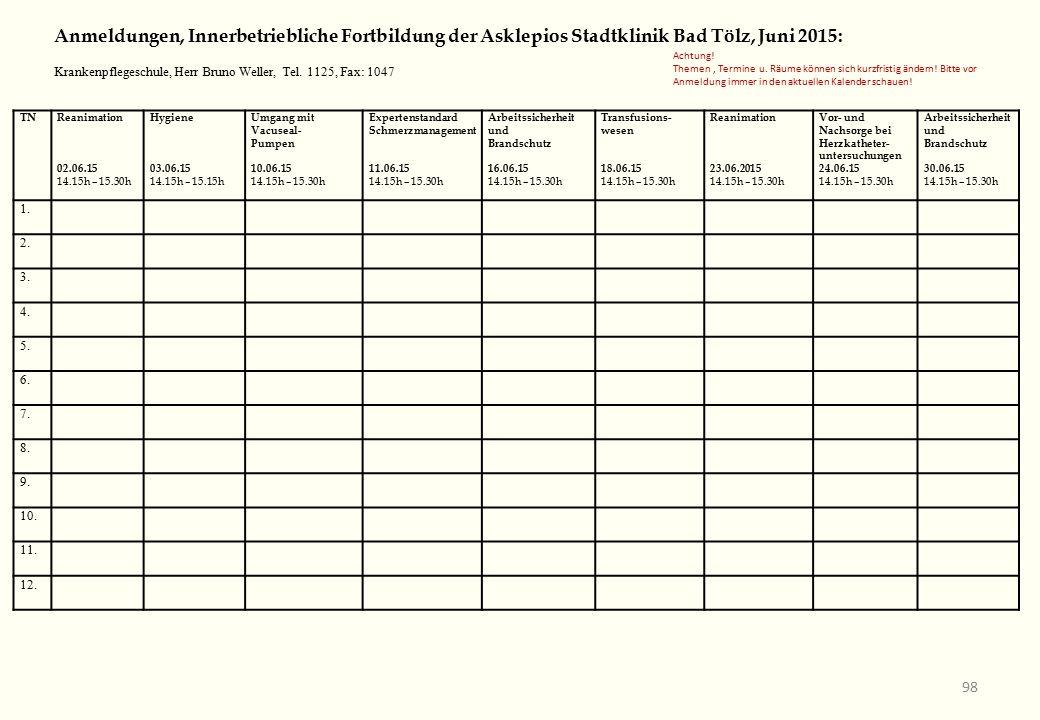 TNReanimation 02.06.15 14.15h – 15.30h Hygiene 03.06.15 14.15h – 15.15h Umgang mit Vacuseal- Pumpen 10.06.15 14.15h – 15.30h Expertenstandard Schmerzmanagement 11.06.15 14.15h – 15.30h Arbeitssicherheit und Brandschutz 16.06.15 14.15h – 15.30h Transfusions- wesen 18.06.15 14.15h – 15.30h Reanimation 23.06.2015 14.15h – 15.30h Vor- und Nachsorge bei Herzkatheter- untersuchungen 24.06.15 14.15h – 15.30h Arbeitssicherheit und Brandschutz 30.06.15 14.15h – 15.30h 1.