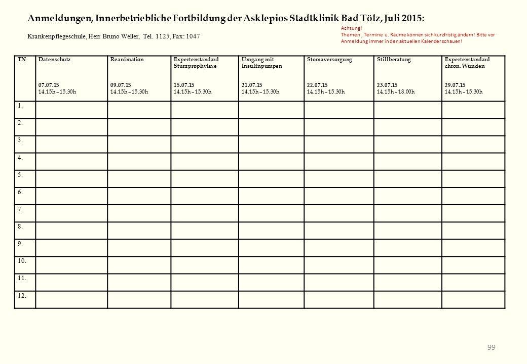 TNDatenschutz 07.07.15 14.15h – 15.30h Reanimation 09.07.15 14.15h – 15.30h Expertenstandard Sturzprophylaxe 15.07.15 14.15h – 15.30h Umgang mit Insulinpumpen 21.07.15 14.15h – 15.30h Stomaversorgung 22.07.15 14.15h – 15.30h Stillberatung 23.07.15 14.15h – 18.00h Expertenstandard chron.
