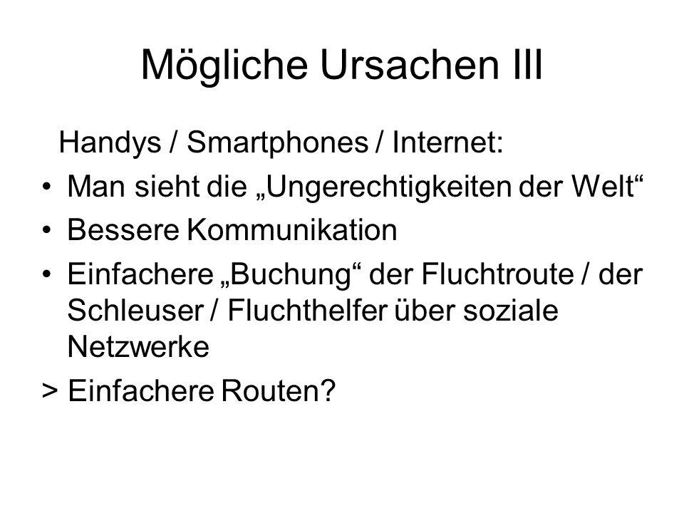 """Mögliche Ursachen III Handys / Smartphones / Internet: Man sieht die """"Ungerechtigkeiten der Welt Bessere Kommunikation Einfachere """"Buchung der Fluchtroute / der Schleuser / Fluchthelfer über soziale Netzwerke > Einfachere Routen"""