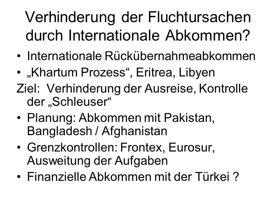 Verhinderung der Fluchtursachen durch Internationale Abkommen.