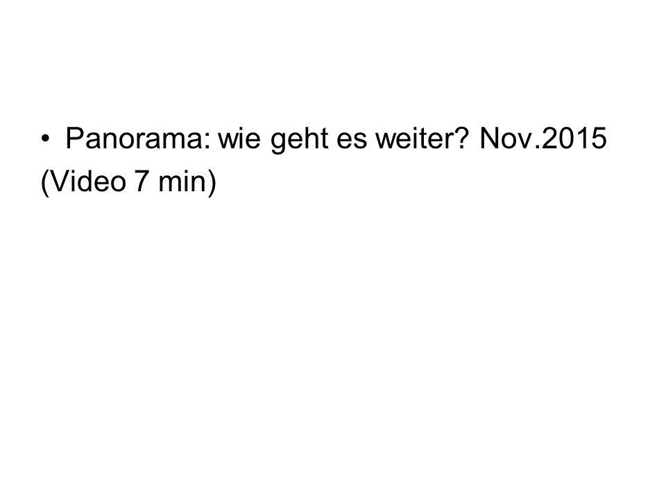 Panorama: wie geht es weiter Nov.2015 (Video 7 min)
