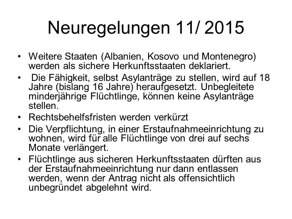 Neuregelungen 11/ 2015 Weitere Staaten (Albanien, Kosovo und Montenegro) werden als sichere Herkunftsstaaten deklariert.