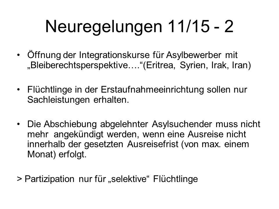 """Neuregelungen 11/15 - 2 Öffnung der Integrationskurse für Asylbewerber mit """"Bleiberechtsperspektive…. (Eritrea, Syrien, Irak, Iran) Flüchtlinge in der Erstaufnahmeeinrichtung sollen nur Sachleistungen erhalten."""
