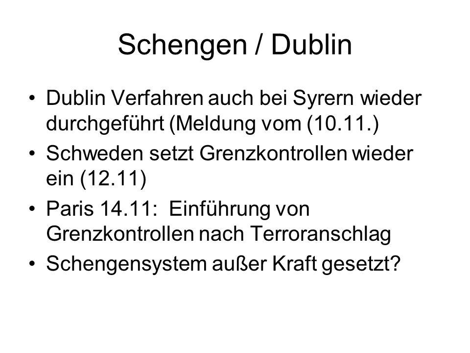 Schengen / Dublin Dublin Verfahren auch bei Syrern wieder durchgeführt (Meldung vom (10.11.) Schweden setzt Grenzkontrollen wieder ein (12.11) Paris 14.11: Einführung von Grenzkontrollen nach Terroranschlag Schengensystem außer Kraft gesetzt