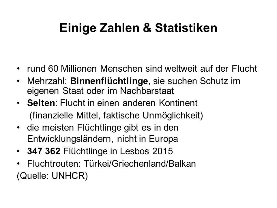 Einige Zahlen & Statistiken rund 60 Millionen Menschen sind weltweit auf der Flucht Mehrzahl: Binnenflüchtlinge, sie suchen Schutz im eigenen Staat oder im Nachbarstaat Selten: Flucht in einen anderen Kontinent (finanzielle Mittel, faktische Unmöglichkeit) die meisten Flüchtlinge gibt es in den Entwicklungsländern, nicht in Europa 347 362 Flüchtlinge in Lesbos 2015 Fluchtrouten: Türkei/Griechenland/Balkan (Quelle: UNHCR)