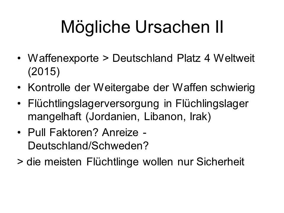 Mögliche Ursachen II Waffenexporte > Deutschland Platz 4 Weltweit (2015) Kontrolle der Weitergabe der Waffen schwierig Flüchtlingslagerversorgung in Flüchlingslager mangelhaft (Jordanien, Libanon, Irak) Pull Faktoren.