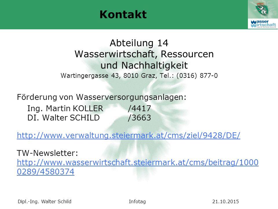 Dipl.-Ing. Walter SchildInfotag21.10.2015 Abteilung 14 Wasserwirtschaft, Ressourcen und Nachhaltigkeit Wartingergasse 43, 8010 Graz, Tel.: (0316) 877-