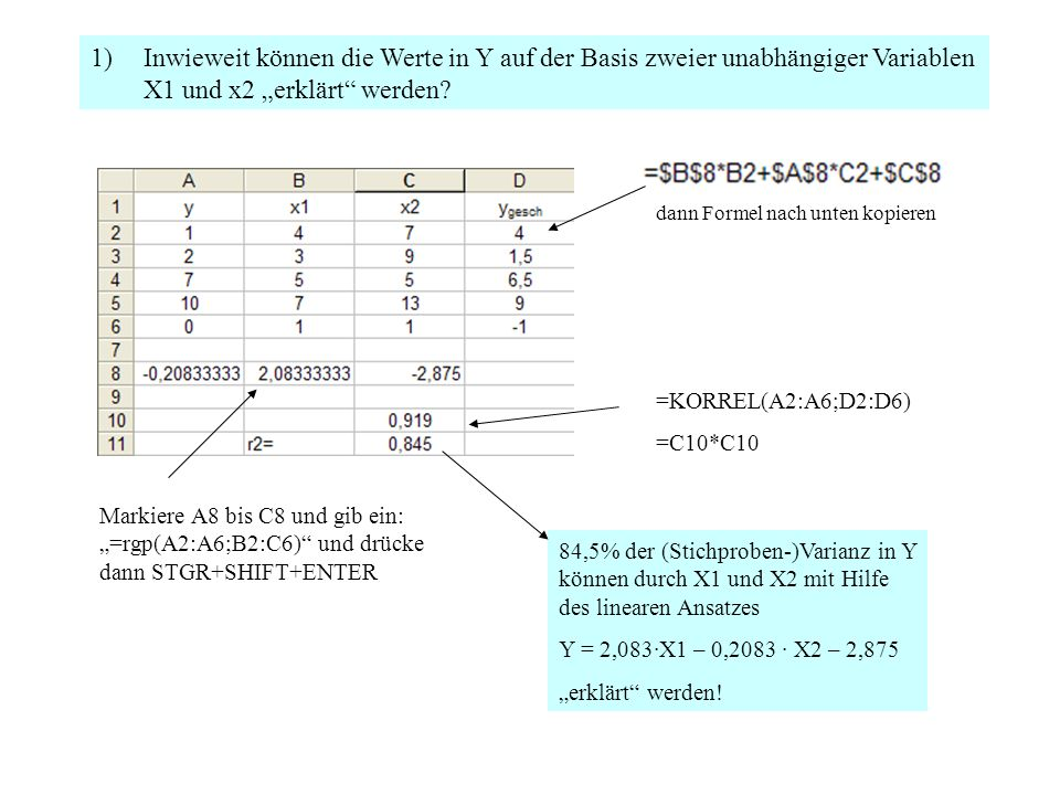 """1)Inwieweit können die Werte in Y auf der Basis zweier unabhängiger Variablen X1 und x2 """"erklärt werden."""