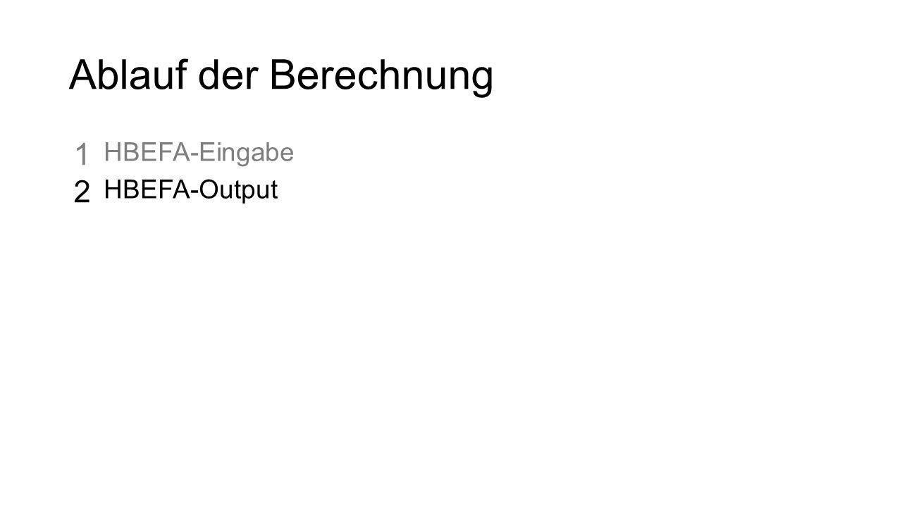 Ablauf der Berechnung HBEFA-Eingabe HBEFA-Output 1212