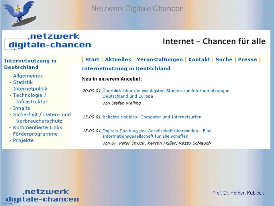 Prof. Dr. Herbert Kubicek Netzwerk Digitale Chancen