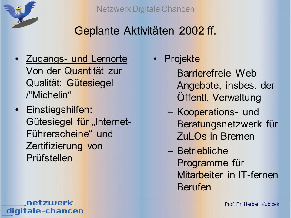 Prof. Dr. Herbert Kubicek Netzwerk Digitale Chancen Geplante Aktivitäten 2002 ff.