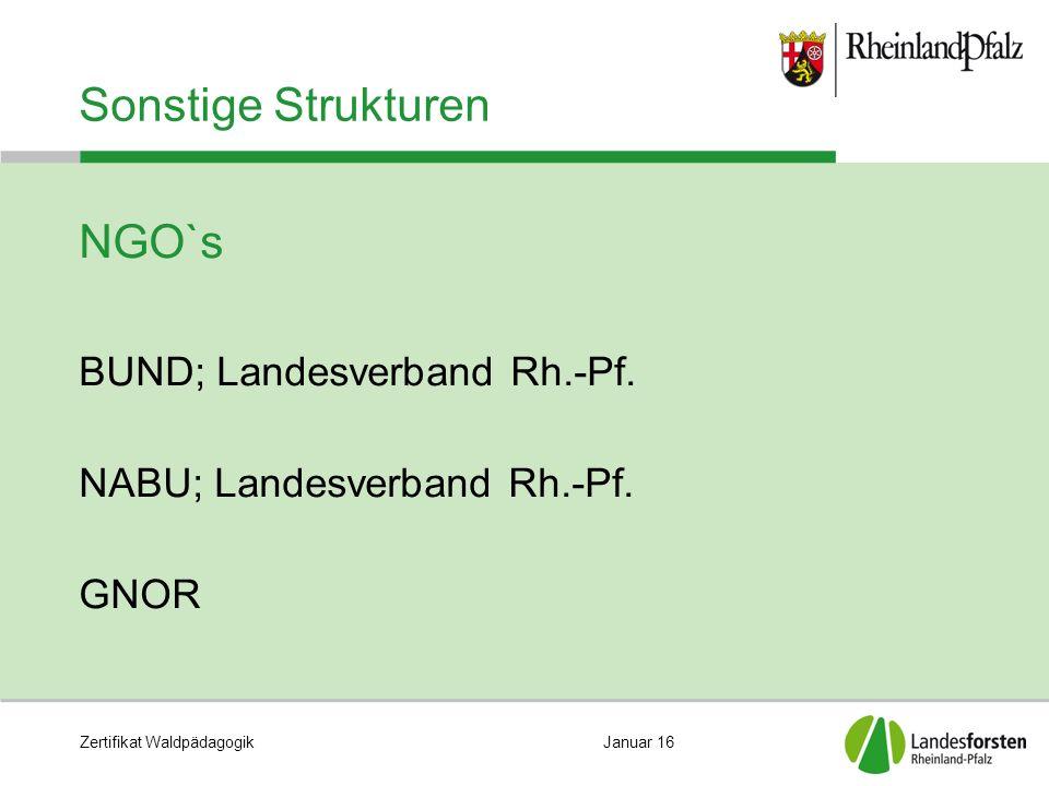 Zertifikat WaldpädagogikJanuar 16 Sonstige Strukturen NGO`s BUND; Landesverband Rh.-Pf.