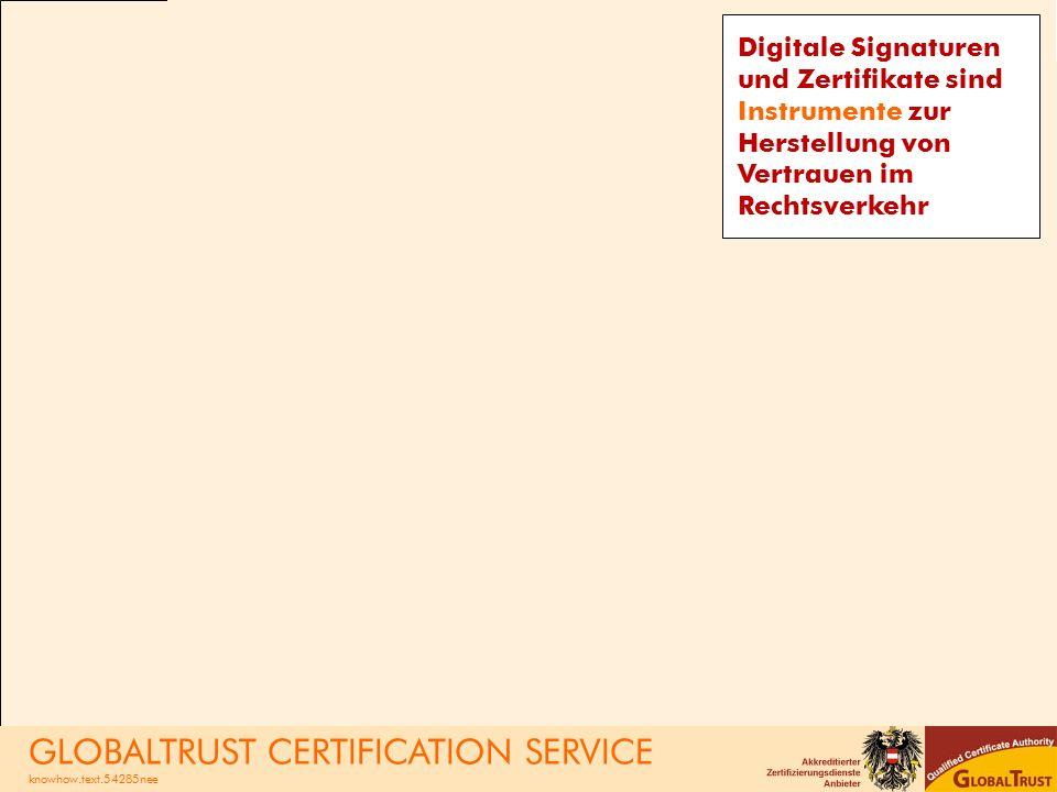 Digitale Signaturen und Zertifikate sind Instrumente zur Herstellung von Vertrauen im Rechtsverkehr GLOBALTRUST CERTIFICATION SERVICE knowhow.text.54285nee