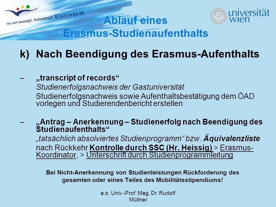 """a.o. Univ.-Prof. Mag. Dr. Rudolf Müllner k)Nach Beendigung des Erasmus-Aufenthalts –""""transcript of records"""" Studienerfolgsnachweis der Gastuniversität"""