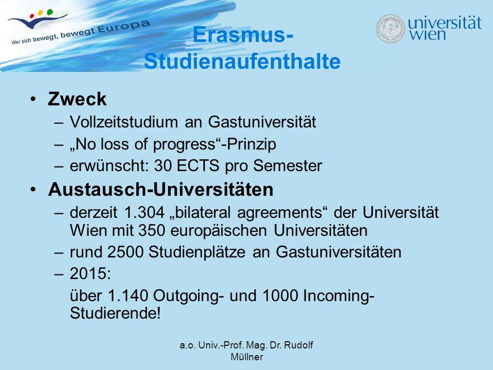 """a.o. Univ.-Prof. Mag. Dr. Rudolf Müllner Erasmus- Studienaufenthalte Zweck –Vollzeitstudium an Gastuniversität –""""No loss of progress""""-Prinzip –erwünsc"""