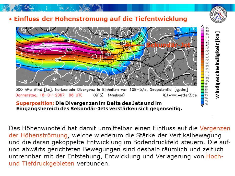 Einfluss der Höhenströmung auf die Tiefentwicklung Das Höhenwindfeld hat damit unmittelbar einen Einfluss auf die Vergenzen der Höhenströmung, welche wiederum die Stärke der Vertikalbewegung und die daran gekoppelte Entwicklung im Bodendruckfeld steuern.