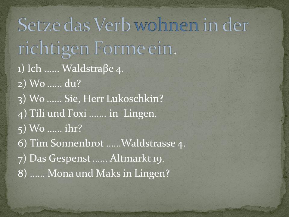 1) Ich …… Waldstraβe 4. 2) Wo …… du? 3) Wo …… Sie, Herr Lukoschkin? 4) Tili und Foxi ……. in Lingen. 5) Wo …… ihr? 6) Tim Sonnenbrot ……Waldstrasse 4. 7