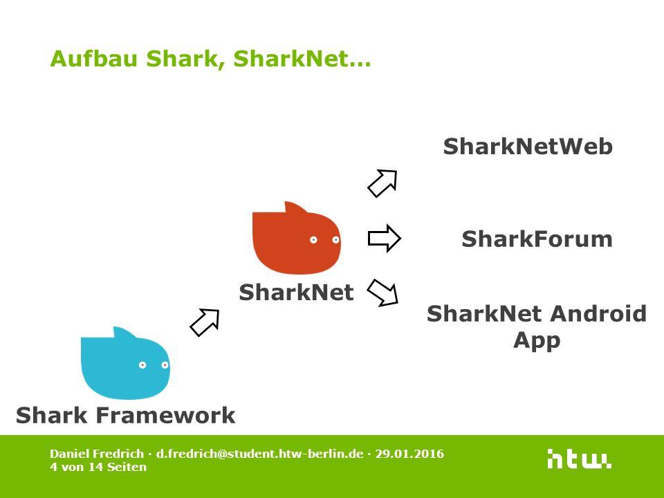 Daniel Fredrich · d.fredrich@student.htw-berlin.de · 29.01.2016 4 von 14 Seiten Aufbau Shark, SharkNet… Shark Framework SharkNet SharkNetWeb SharkForu