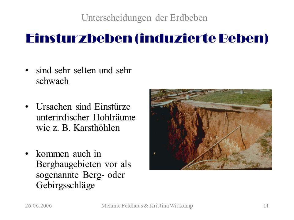 26.06.2006Melanie Feldhaus & Kristina Wittkamp11 Einsturzbeben (induzierte Beben) sind sehr selten und sehr schwach Ursachen sind Einstürze unterirdischer Hohlräume wie z.