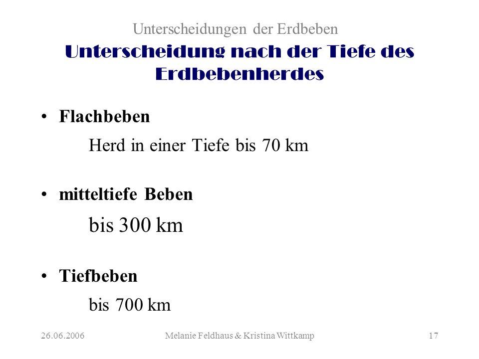 26.06.2006Melanie Feldhaus & Kristina Wittkamp17 Unterscheidung nach der Tiefe des Erdbebenherdes Flachbeben Herd in einer Tiefe bis 70 km mitteltiefe Beben bis 300 km Tiefbeben bis 700 km Unterscheidungen der Erdbeben