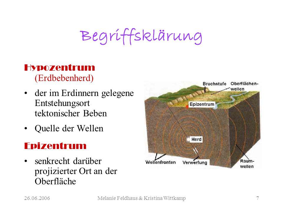 26.06.2006Melanie Feldhaus & Kristina Wittkamp7 Begriffsklärung Hypozentrum (Erdbebenherd) der im Erdinnern gelegene Entstehungsort tektonischer Beben Quelle der Wellen Epizentrum senkrecht darüber projizierter Ort an der Oberfläche