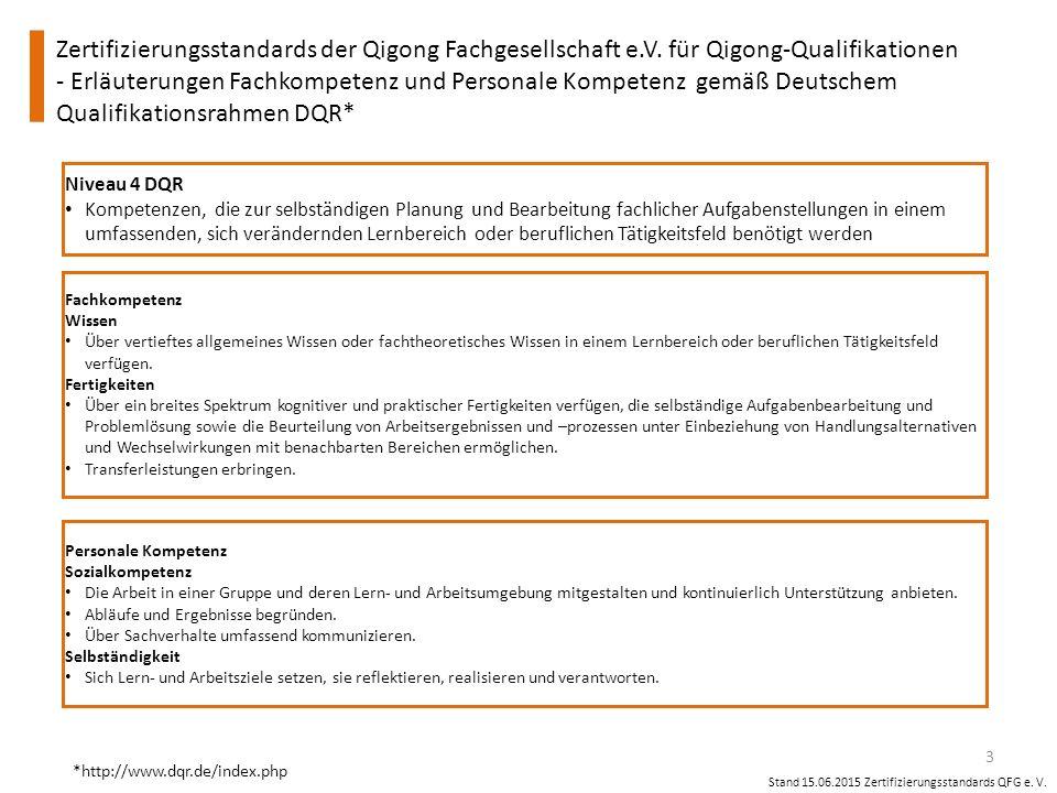 Zertifizierungsstandards der Qigong Fachgesellschaft e.V. für Qigong-Qualifikationen - Erläuterungen Fachkompetenz und Personale Kompetenz gemäß Deuts