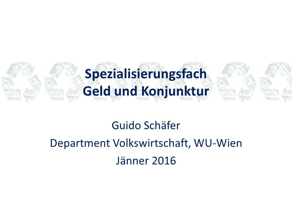 Struktur des Programms Organisation: Absolvierung durch Belegung einer der zwei parallel angebotenen LVAs: - LVA Springler (4 Std.): Geld und Konjunktur auf Deutsch, teilweise geblockt, basierend auf Lehrbuch von Mishkin, Gruppenpräsentationen.