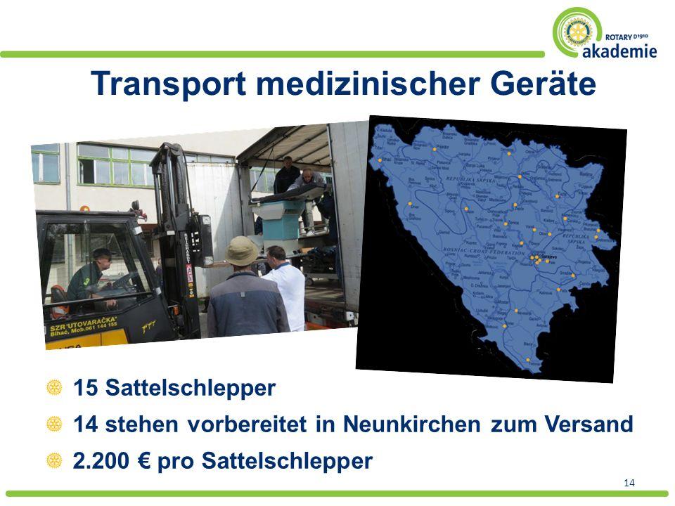 Transport medizinischer Geräte 14 15 Sattelschlepper 14 stehen vorbereitet in Neunkirchen zum Versand 2.200 € pro Sattelschlepper