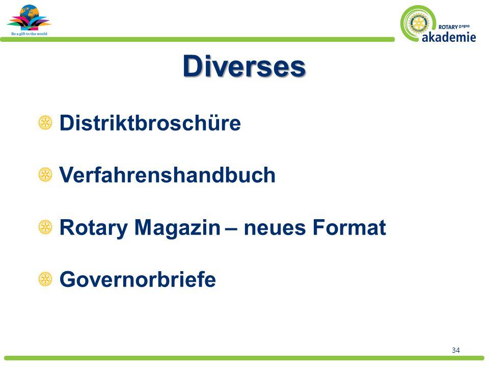 34 Diverses Distriktbroschüre Verfahrenshandbuch Rotary Magazin – neues Format Governorbriefe