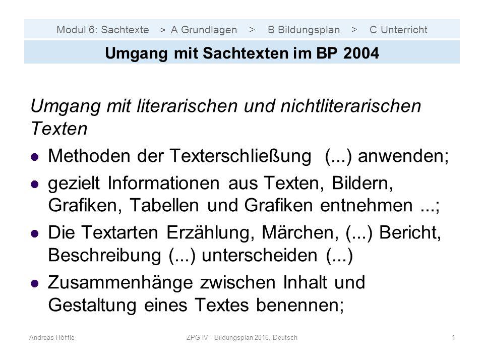 Modul 6: Sachtexte > A Grundlagen > B Bildungsplan > C Unterricht Umgang mit literarischen und nichtliterarischen Texten Methoden der Texterschließung