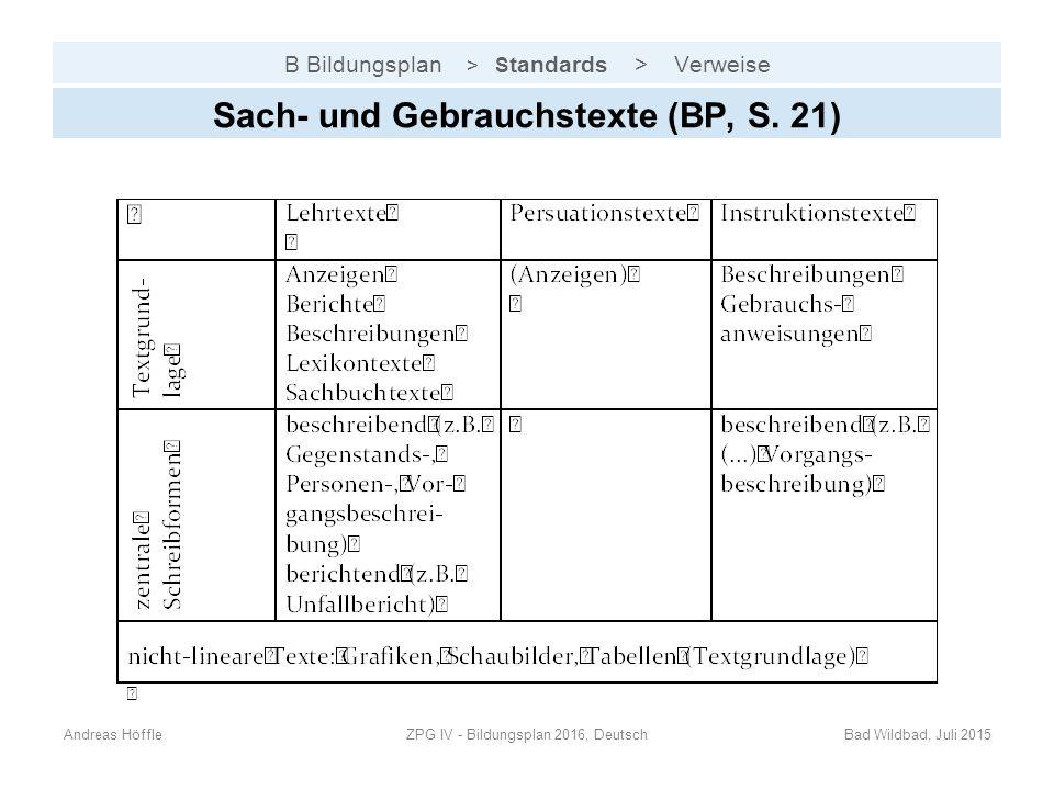 B Bildungsplan > S tandards > Verweise Sach- und Gebrauchstexte (BP, S. 21) Andreas HöffleZPG IV - Bildungsplan 2016, DeutschBad Wildbad, Juli 2015