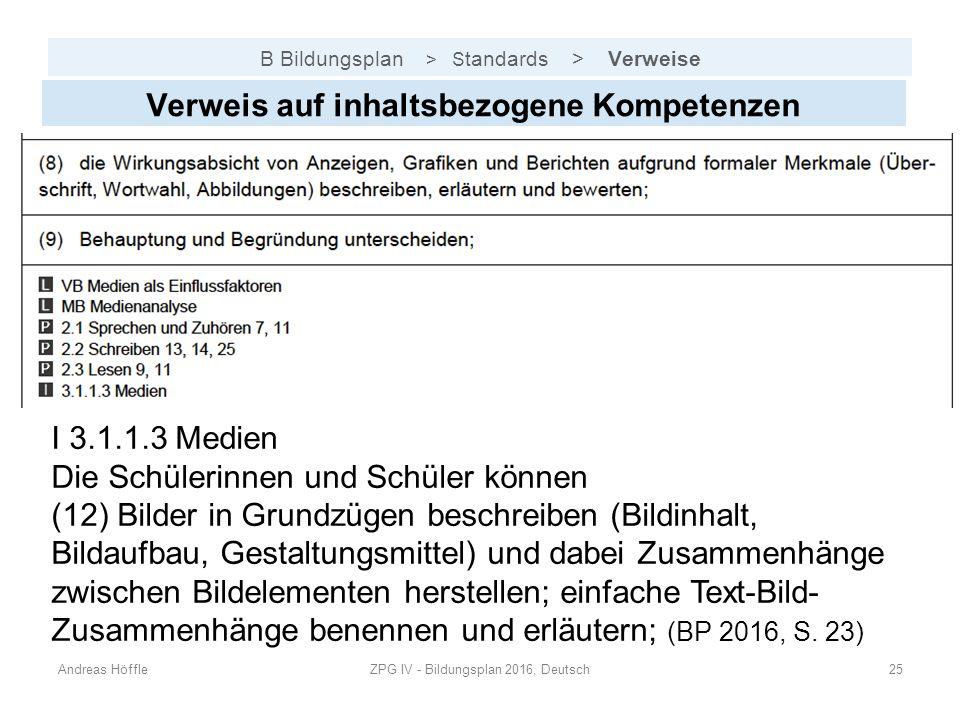 B Bildungsplan > S tandards > Verweise Andreas HöffleZPG IV - Bildungsplan 2016, Deutsch25 Verweis auf inhaltsbezogene Kompetenzen I 3.1.1.3 Medien Di