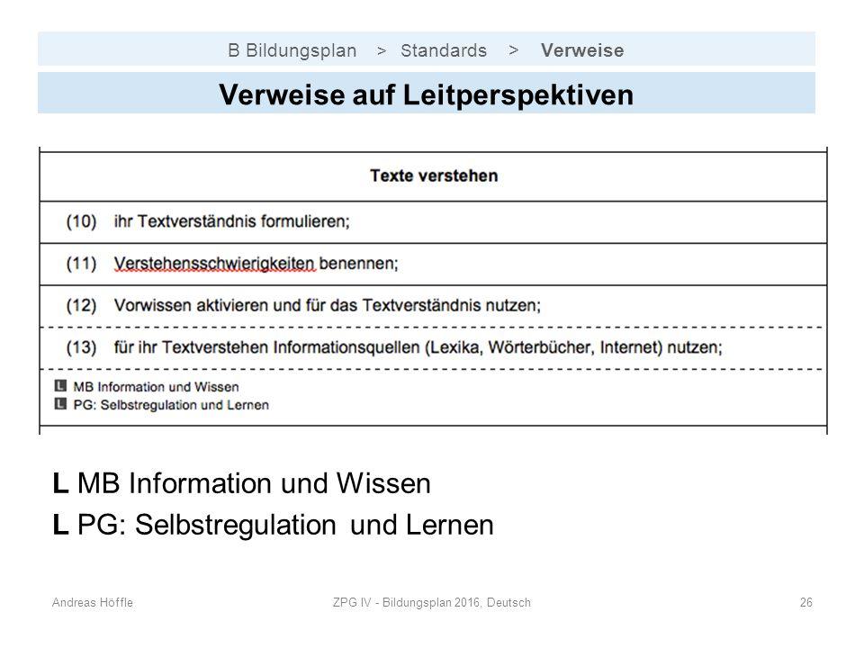 B Bildungsplan > S tandards > Verweise Andreas HöffleZPG IV - Bildungsplan 2016, Deutsch26 Verweise auf Leitperspektiven L MB Information und Wissen L PG: Selbstregulation und Lernen