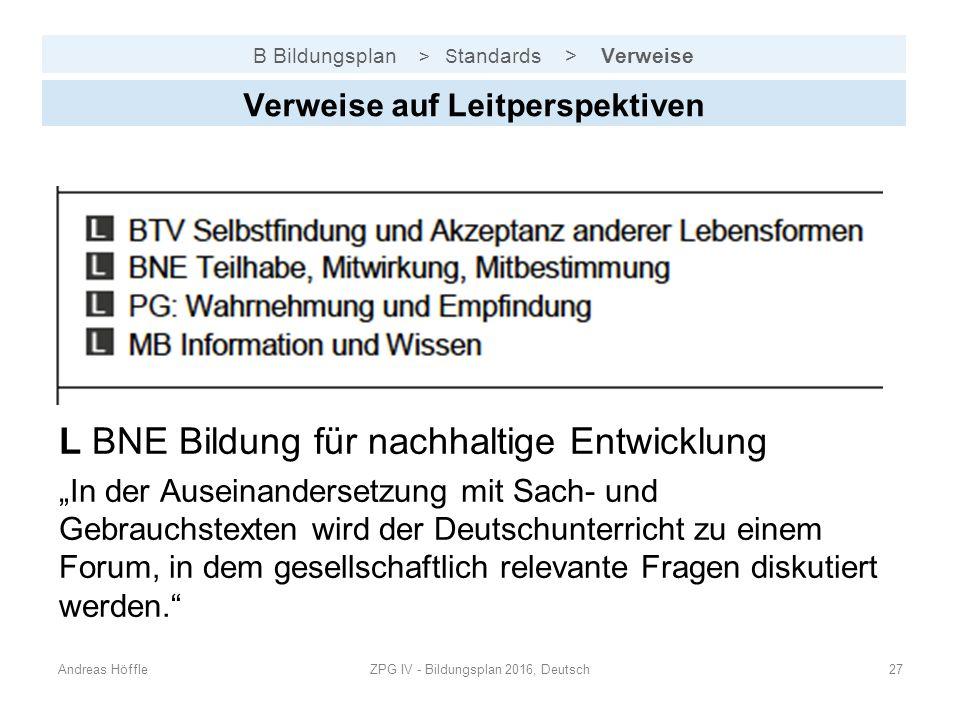 B Bildungsplan > S tandards > Verweise Andreas HöffleZPG IV - Bildungsplan 2016, Deutsch27 Verweise auf Leitperspektiven L BNE Bildung für nachhaltige