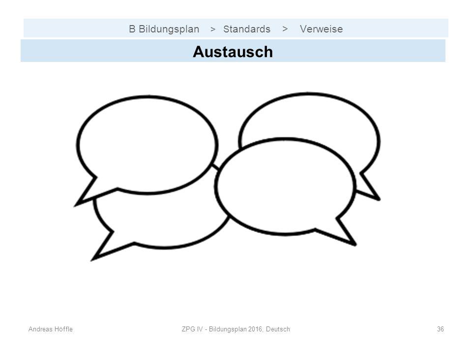B Bildungsplan > S tandards > Verweise Andreas HöffleZPG IV - Bildungsplan 2016, Deutsch36 Austausch